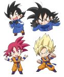 >:| 1boy :d against_glass annoyed bidarian black_eyes black_gloves black_hair blonde_hair blue_coat boots chibi clenched_hands coat dougi dragon_ball dragon_ball_super dragon_ball_super_broly dragonball_z excited fighting_stance fingernails frown full_body gloves green_eyes happy looking_away male_focus open_mouth outstretched_arm red_eyes red_hair short_hair simple_background smile son_gokuu sparkling_eyes spiked_hair super_saiyan super_saiyan_god upper_body white_background winter_clothes wristband