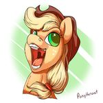 applejack_(mlp) bust_(disambiguation) friendship_is_magic happy hat mouth_shot my_little_pony open_mouth ponythroat portrait solo tongue tongue_out uvula
