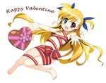 :d blonde_hair blush chocolate chocolate_heart flat_chest fujima_takuya green_eyes hair_ribbon happy_valentine heart heterochromia long_hair lyrical_nanoha mahou_shoujo_lyrical_nanoha_vivid naked_ribbon navel open_mouth outstretched_arms red_eyes ribbon shiny shiny_hair simple_background smile solo two_side_up valentine vivio white_background