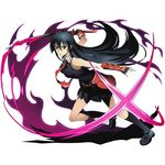 1girl akame akame_ga_kill! black_gloves black_hair black_legwear black_shirt black_skirt divine_gate elbow_gloves fingerless_gloves full_body gloves hair_between_eyes holding holding_sword holding_weapon katana kneehighs long_hair looking_at_viewer magic necktie official_art one_leg_raised pleated_skirt red_eyes red_necktie school_uniform shadow shirt skirt sleeveless sleeveless_shirt solo sword transparent_background ucmm very_long_hair weapon