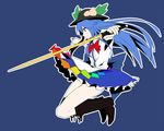1girl black_boots black_hat blue_background blue_hair blue_skirt boots bow bowtie food frilled_skirt frills from_side fruit hat hat_leaf hinanawi_tenshi holding holding_weapon homco long_hair outstretched_arms peach rainbow_order red_bow red_bowtie red_eyes shirt short_sleeves skirt solo spread_arms sword sword_of_hisou touhou weapon white_shirt