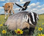2013 4_toes ambiguous_gender american_badger avian badger beak biped bird bird_feet bison black_eyes black_feathers black_fur black_nose black_tail black_wings bobolink bovine brown_fur brown_tail buffalo carrying claws cloud cloven_hooves cub digital_media_(artwork) digital_painting_(artwork) feathers feral field flower fur grass grey_beak group hooves horn icterid looking_at_another male mammal multicolored_feathers multicolored_fur mustelid nature on_top on_top_of orange_feathers outside piggyback plant psithyrus quadruped short_tail size_difference sky smile snout spread_wings standing tail_feathers tan_fur tan_horn tan_tail toe_claws toes two_tone_fur two_tone_tail walking white_feathers white_fur white_tail wings young