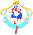 1girl bishoujo_senshi_sailor_moon blonde_hair blue_eyes breasts choker earrings gloves highres jewelry long_hair looking_at_viewer medium_breasts moon_earrings multicolored_hair navel pink_hair sailor_moon skindentation solo theycallhimcake thick_thighs thighhighs thighs tsukino_usagi twintails very_long_hair white_gloves white_legwear