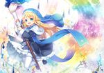 1girl blonde_hair blue_eyes capura_lin long_hair magi_in_wanchin_basilica official_art paintbrush pantyhose solo white_legwear xiao_ma