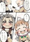 2girls :d :o ahoge animal_ears beaver_ears black-tailed_prairie_dog_(kemono_friends) blush blush_stickers brown_eyes comic elbow_gloves extra_ears eyes_closed fur_collar fur_trim gloves grey_hair hair_ornament hairclip hand_holding happamushi jacket kemono_friends light_brown_hair looking_at_another multicolored_hair multiple_girls north_american_beaver_(kemono_friends) open_clothes open_jacket open_mouth short_hair sleeveless smile speech_bubble torn_clothes torn_sleeves translation_request wavy_eyes wavy_mouth