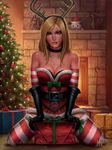 1girl 2016 antlers artist_name bare_shoulders belt biting black_gloves blonde_hair blue_eyes breasts choker christmas christmas_ornaments christmas_tree cleavage fireplace fur_trim gift gloves highres katarina_du_couteau league_of_legends lip_biting looking_at_viewer mirco_cabbia scar scar_across_eye slay_belle_katarina solo striped striped_legwear thighhighs zettai_ryouiki