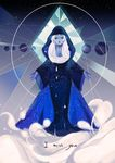 1girl 24b blue_diamond_(steven_universe) blue_skin cloak constellation crying gem highres hood outstretched_arms planet solo space standing star_(sky) steven_universe tears white_hair wide_sleeves