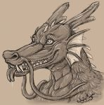 dragon drooling eastern_dragon forked_tongue frill horn saliva scalie singingmagpie smile solo tongue whiskers