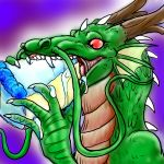 cake claws dragon eastern_dragon eating food frill horn red_eyes reio scalie solo whiskers