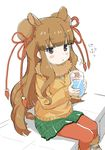 1girl animal_ears ankle_boots artist_request bactrian_camel_(kemono_friends) bangs beige_boots black_ribbon blunt_bangs blush_stickers boots brown_eyes brown_hair bun_cover camel_ears camel_tail collar commentary_request cup double_bun drinking_glass expressionless eyebrows_visible_through_hair eyelashes frills fur-trimmed_boots fur_collar fur_trim green_skirt hair_ornament holding holding_cup holding_drinking_glass jitome kemono_friends long_hair long_sleeves looking_away official_art open_mouth orange_sweater pantyhose red_legwear ribbon shadow shoe_ribbon simple_background sitting skirt solo sweater tail translation_request triangle_mouth water white_background