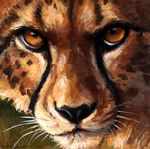 2017 acrylic ambiguous_gender black_eyes black_fur brown_fur brown_sclera brown_spots cheetah feline fur headshot_portrait kenket looking_at_viewer mammal painting_(artwork) portrait solo traditional_media_(artwork) whiskers white_fur