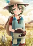2girls akashio_(loli_ace) animal_ears backpack bag belt black_gloves black_hair blue_eyes blue_sky blush cloud cloudy_sky collarbone cowboy_shot eyebrows_visible_through_hair eyelashes from_behind gloves grass ground hair_between_eyes hat hat_feather hiding highres holding kaban kemono_friends lips long_hair looking_at_viewer lucky_beast_(kemono_friends) mountain multicolored_hair multiple_girls orange_sky outdoors pantyhose red_shirt safari_hat sandstar savannah shirt short_hair short_sleeves shorts sky smile streaked_hair striped sunset tsurime white_hair zebra_(kemono_friends) zebra_ears |_|
