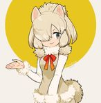 >:> 1girl :> alpaca_ears alpaca_suri alpaca_tail animal_ears beige_shirt blonde_hair blue_eyes collar commentary_request dot_nose elbow_gloves eyelashes fur-trimmed_sleeves fur_collar fur_trim gloves gradient_ribbon grey_background hair_bun hair_over_one_eye hair_ribbon hand_up horizontal_pupils kemono_friends l_hakase looking_at_viewer multicolored multicolored_background neck_ribbon open_hand ribbon shirt short_hair sleeveless sleeveless_shirt smile solo tail tareme tress_ribbon twitter_username upper_body yellow_background