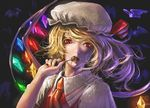 1girl animal ascot bat blonde_hair candy collared_shirt crystal dress_shirt flandre_scarlet food glowing hand_up hat hat_ribbon highres holding holding_food holding_lollipop lollipop long_hair looking_to_the_side mob_cap nail_polish open_clothes red_eyes red_nails ribbon shirt short_sleeves teru_sakura touhou upper_body wing_collar wings