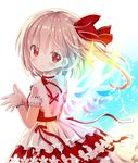 1girl alternate_costume bangs blonde_hair bracelet detached_collar dress flandre_scarlet givuchoko hair_ribbon highres jewelry layered_dress looking_at_viewer red_dress red_eyes red_ribbon ribbon side_ponytail smile solo touhou upper_body wings