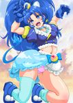 1girl animal_ears blue_eyes blue_gloves blue_hair cure_gelato extra_ears gloves highres kirakira_precure_a_la_mode lion_ears lion_tail long_hair looking_at_viewer magical_girl midriff open_mouth panties pink_panties precure smile solo tail tategami_aoi thighhighs thighs underwear yamako777