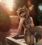 5_fingers anthro canine clothed clothing day detailed_background f-r95 female koul looking_at_viewer looking_back mammal outside smile solo waterfall