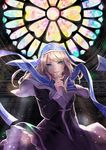 1girl blonde_hair blue_eyes cross hanakingyo highres light_beam long_hair magi_in_wanchin_basilica nun smile solo stained_glass xiao_ma