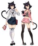 1girl ahoge animal_ears animal_slippers arutera bag bangs banned_artist black_hair black_legwear bloomers blue_eyes blue_shirt blush cat_ears cat_girl cat_slippers cat_tail choker collarbone full_body hair_ornament hairpin handbag heart highres holding holding_bag jewelry lingerie long_sleeves low_twintails mary_janes navel necklace one_eye_closed open_mouth original pocket ribbon_choker scrunchie shirt shoes short_hair simple_background slippers smile standing stuffed_animal stuffed_cat stuffed_toy tail thighhighs twintails underwear white_background white_legwear wrist_scrunchie zettai_ryouiki