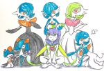 5girls absurdres alternate_color artist_name bangs bare_shoulders blue_hair blue_neckwear blue_skin blush blush_stickers breasts closed_mouth collarbone creatures_(company) eye_contact eyes_closed flat_chest full_body furry game_freak gardevoir gen_3_pokemon green_eyes green_hair green_skin hair_over_one_eye hand_up hands_on_hips hands_up happy highres indian_style kirlia kneeling looking_at_another looking_down looking_up mega_gardevoir mega_pokemon multiple_girls neckerchief nintendo no_humans open_mouth orange_eyes original outstretched_arm outstretched_arms pokemon pokemon_(creature) purple_hair ralts sash shiny shiny_hair shiny_pokemon short_hair signature simple_background sitting small_breasts smile standing striped striped_neckwear traditional_media two-tone_skin white_background white_skin yuumikuchi