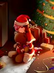 blush boots brown_hair capelet christmas_ornaments christmas_tree fur-trimmed_boots fur-trimmed_capelet fur-trimmed_gloves fur_trim gift gloves hair_over_one_eye hat highres looking_at_viewer neo_(rwby) pink_eyes pink_hair red_gloves rwby santa_costume santa_hat sitting smile stuffed_animal stuffed_toy teddy_bear thighhighs tl wariza white_legwear