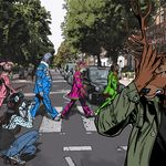 abbey_road anthro avian billmund bird camera canine car cervine clothed clothing deer facepalm feline female fox group leopard male mammal outside owl pigeon snow_leopard standing vehicle