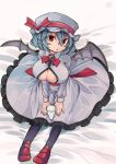 aioi_aoi bat_wings bed black_legwear blue_hair breasts cleavage cleavage_cutout commentary_request dress eyebrows_visible_through_hair frills glass hat large_breasts looking_at_viewer looking_up milk mob_cap open_mouth pantyhose raised_eyebrows red_eyes red_footwear remilia_scarlet shoes solo touhou wings