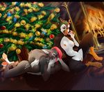 anthro avian bird breasts canine christmas christmas_tree duo female fireplace holidays ltshiroi mammal nipples omesore puffin pussy smile spread_legs spreading tree