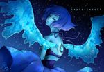 1girl 2016 blue_dress blue_skin character_name dogdogwanwan dress eyes_closed highres lapis_lazuli_(steven_universe) night night_sky sky solo steven_universe water wings