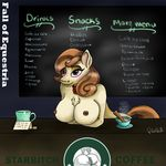 2017 anthro anthrofied anus beverage blush breasts broken_horn chalk chalkboard chest_tuft cinnamon_chai_(mlp) coffee coin collar cum cum_in_a_cup cup equine eyeshadow fall_of_equestria female friendship_is_magic hair horn jar logo makeup mammal menu money multicolored_hair my_little_pony nipples note nude parody polar_puff puffy_anus pussy sex_slave sign slave steam store text tip_jar tuft unicorn working