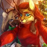 anthro canine christmas christmas_tree clothed clothing duo female holidays hug looking_at_viewer mammal selfie smile tongue tongue_out tree vako_edelveys