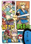 1boy 3girls 3koma alternate_costume anger_vein angry armpits before_and_after blank_eyes blonde_hair blue_eyes blue_lipstick blush bokoblin comic commentary_request crossdressing dark_skin detached_sleeves earrings english gerudo gerudo_link green_eyes hair_between_eyes hoop_earrings jewelry kinako_(462) link lipstick long_hair looking_at_viewer makeup midriff mipha monster_girl multicolored multicolored_skin multiple_girls muscle muscular_female navel one_eye_closed pointy_ears princess_zelda red_hair red_skin smile stomach sword the_legend_of_zelda the_legend_of_zelda:_breath_of_the_wild toned translation_request trap urbosa v v_over_eye veil weapon white_skin yellow_eyes zora