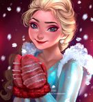 1girl artist_name blonde_hair blue_dress blue_eyes braid dress earrings elsa_(frozen) frozen_(disney) heart heart_earrings jewelry lipstick makeup mittens motion_blur numyumy red_lipstick single_braid smile snowing solo sparkle upper_body watermark web_address