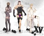3boys bare_shoulders black_gloves black_legwear blindfold blonde_hair boots breasts brown_hair cleavage company_connection cosplay cosplray crossdressing damaged_clothes elbow_gloves final_fantasy final_fantasy_xv fishnets gladiolus_amicitia gloves high_heels highleg highleg_leotard horsewhip ignis_scientia leotard male_focus multiple_boys nier_(series) nier_automata prompto_argentum soto_(20151217337) square_enix thighhighs veil white_boots white_gloves yorha_infantry_squad_commander yorha_infantry_squad_commander_(cosplay) yorha_no._21_type_o yorha_no._21_type_o_(cosplay) yorha_type_a_no._2 yorha_type_a_no._2_(cosplay)