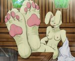 4_toes anthro blue_eyes breasts feet feet_up female foot_fetish foot_focus lagomorph licking licking_lips long_ears mammal nipples pawpads paws rabbit sauna solo sweat toes tongue tongue_out towel ukent
