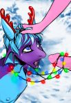 2018 anthro bdsm christmas christmas_lights demino_(deminothedragon) digital_media_(artwork) dragon duo erection eyeshadow fake_antlers girly hair hand_on_head holidays horn kimart_i lipstick looking_up makeup male male/male nipples nude open_mouth oral penis scalie sex tears tongue