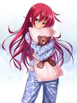 1girl artist_name atomix bangs blush contrapposto cowboy_shot dakimakura_(object) gradient gradient_background hair_between_eyes head_tilt highres long_hair long_sleeves looking_at_viewer object_hug original pajamas pedobear pillow pillow_hug pink_eyes red_hair shiny shiny_hair sleeves_past_wrists smile solid_circle_eyes solo standing straight_hair tareme very_long_hair watermark web_address