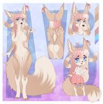 2017 4_toes 5_fingers abstract_background ahoge aimi akinna anthro barefoot barely_visible_genitalia big_ears big_tail biped black_nose blue_eyes border breasts brown_fur brown_tail butt_heart canine chest_tuft chibi clothed clothing color_swatch digital_media_(artwork) digitigrade eyebrows eyelashes featureless_breasts female fennec fluffy fluffy_tail fox fur hair hi_res jesse_(nekogirl1257) long_hair long_tail mammal model_sheet multicolored_fur multicolored_hair multicolored_tail navel nude open_mouth outside_border pink_clothing pink_hair pussy raised_eyebrow skirt smile solo standing subtle_pussy tan_fur tan_hair tan_tail toes tuft two_tone_hair two_tone_tail white_border