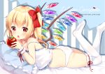 1girl alternate_costume apple ass bangs bed bed_sheet blonde_hair blush bow bracelet collarbone commentary_request crystal eating eyebrows_visible_through_hair fang flandre_scarlet food fruit hair_between_eyes hair_bow hair_ornament hair_ribbon holding irori jewelry leg_garter legs legs_up lingerie looking_at_viewer lying on_bed on_stomach open_mouth panties pillow red_eyes red_ribbon ribbon side_ponytail simple_background solo thighhighs touhou underwear underwear_only white_legwear white_panties wings