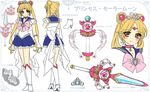 1girl alternate_eye_color artist_name bishoujo_senshi_sailor_moon blonde_hair blue_sailor_collar blue_skirt boots bow brooch brown_eyes character_name character_sheet earrings hair_ornament hairpin jewelry knee_boots long_hair looking_at_viewer magical_girl multiple_persona multiple_views pink_bow pretty_guardian_sailor_moon princess_sailor_moon princess_sword red_choker sailor_moon shirataki_kaiseki skirt smile standing tsukino_usagi twintails white_background white_boots white_bow