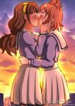 2girls amanogawa_kirara blue_serafuku blush brown_hair building city cloud couple eyes_closed female from_side go!_princess_precure hair_ornament hairband hand_on_another's_cheek hand_on_another's_face hand_on_another's_cheek hand_on_another's_face hand_up haruno_haruka highres hug kiss long_hair long_sleeves multiple_girls orange_hair outdoors pleated_skirt precure sailor_collar school_uniform serafuku short_hair skirt sky standing sunset the_dark_mangaka twilight white_sailor_collar yellow_hairband yuri