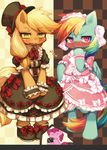 2013 anthro applejack_(mlp) black_clothing blue_fur blush bow camera checkered_background clothed clothing dress duo_focus embarrassed equine female footwear friendship_is_magic frilly frown fully_clothed fur green_eyes group hair hat headwear heavy_blush horse kemono kishibe lolita_(fashion) looking_at_viewer mammal my_little_pony open_mouth orange_fur pattern_background pink_clothing pink_eyes pink_fur pinkie_pie_(mlp) pony rainbow_dash_(mlp) shoes simple_background smile standing sweat top_hat wings