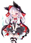 1girl anchor_symbol azur_lane bangs black_cape black_shirt blush bow bowtie breasts cape closed_mouth embarrassed erebus_(azur_lane) eyebrows_visible_through_hair female frilled_shirt frills gloves half-closed_eye hands_together have_to_pee hooded_cape jpeg_artifacts legs_together looking_down miniskirt nose_blush one_eye_closed peeing peeing_self ratryu red_eyes red_neckwear red_ribbon ribbon shirt simple_background skirt small_breasts solo standing striped striped_legwear tears thigh_gap thighhighs torn_cape torn_clothes trembling v_arms wavy_mouth wet wet_clothes white_background white_gloves white_shirt zettai_ryouiki