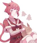 1girl animal_ears bunny cat_ears cat_tail closed_mouth ear_piercing facial_mark facial_tattoo final_fantasy final_fantasy_xiv looking_at_viewer md5_mismatch miqo'te piercing red_clothes red_eyes red_hair saibe santa_costume short_hair slit_pupils tail tattoo white_background