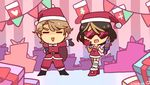 1boy 1girl =_= artist_name black_gloves boots brown_hair bruno_(vocaloid) chibi chorvaqueen christmas christmas_stocking clara_(vocaloid) facial_hair gift gloves heart-shaped_glasses heart-shaped_sunglasses instrument music outstretched_arm pennant playing_instrument red_gloves sack santa_costume smile stubble sunglasses tambourine vocaloid