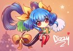 1girl alternate_color asymmetrical_wings birthday blue_hair bow box chibi christmas christmas_tree commentary cubehero dizzy gift gift_box guilty_gear hair_bow heart holding holding_gift long_hair red_eyes solo tail tail_bow thighhighs wings