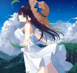 1girl absurdres bangs bare_arms bare_shoulders black_hair blue_bow blue_eyes blue_sky blush bow breasts cloud day dress from_side hat hat_bow highres huge_filesize kanari_no_binetsu large_breasts long_hair open_mouth original outdoors outstretched_arms sky solo straw_hat sun_hat white_dress