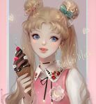 1girl :q artist_name bishoujo_senshi_sailor_moon blonde_hair blue_eyes bow casual chocolate_ice_cream choker crescent crescent_moon_pin dadachyo double_bun eyelashes fingernails food hair_bow hair_ornament heart holding ice_cream ice_cream_cone licking_lips long_hair puckered_lips solo tongue tongue_out tsukino_usagi twintails upper_body