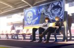 2boys bag formal hypnosis_mic izanami_hifumi kannonzaka_doppo legs_crossed multiple_boys shopping_bag sitting suit train_station