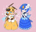 2girls :d android antennae blue_dress blue_eyes closed_mouth dress elbow_gloves eyeshadow gloves helmet honey_woman makeup multiple_girls open_mouth rockman rockman_(classic) rockman_9 smile splash_woman tiara togeshiro_azami wings yellow_dress